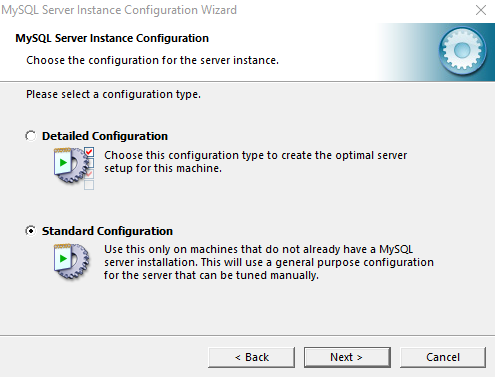 MySQL configuration option chose
