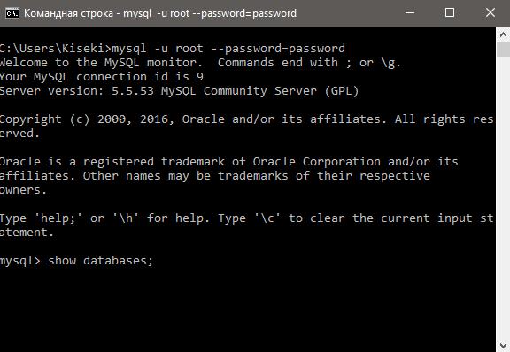 MySQL cmd show databases